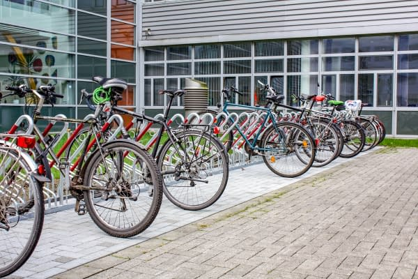 Bicycle parking system consisting of lean-to parkers