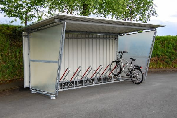 Bicycle shelter system Siegen with lean-to parker