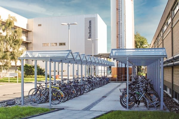 Zürich bicycle shelter as a row system