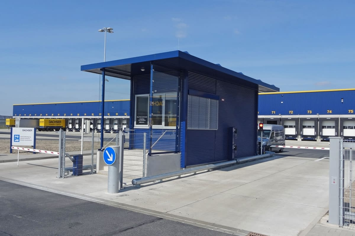 Gatehouse in front of logistics companies