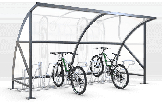 Bicycle shelters with arch roof and glass walls