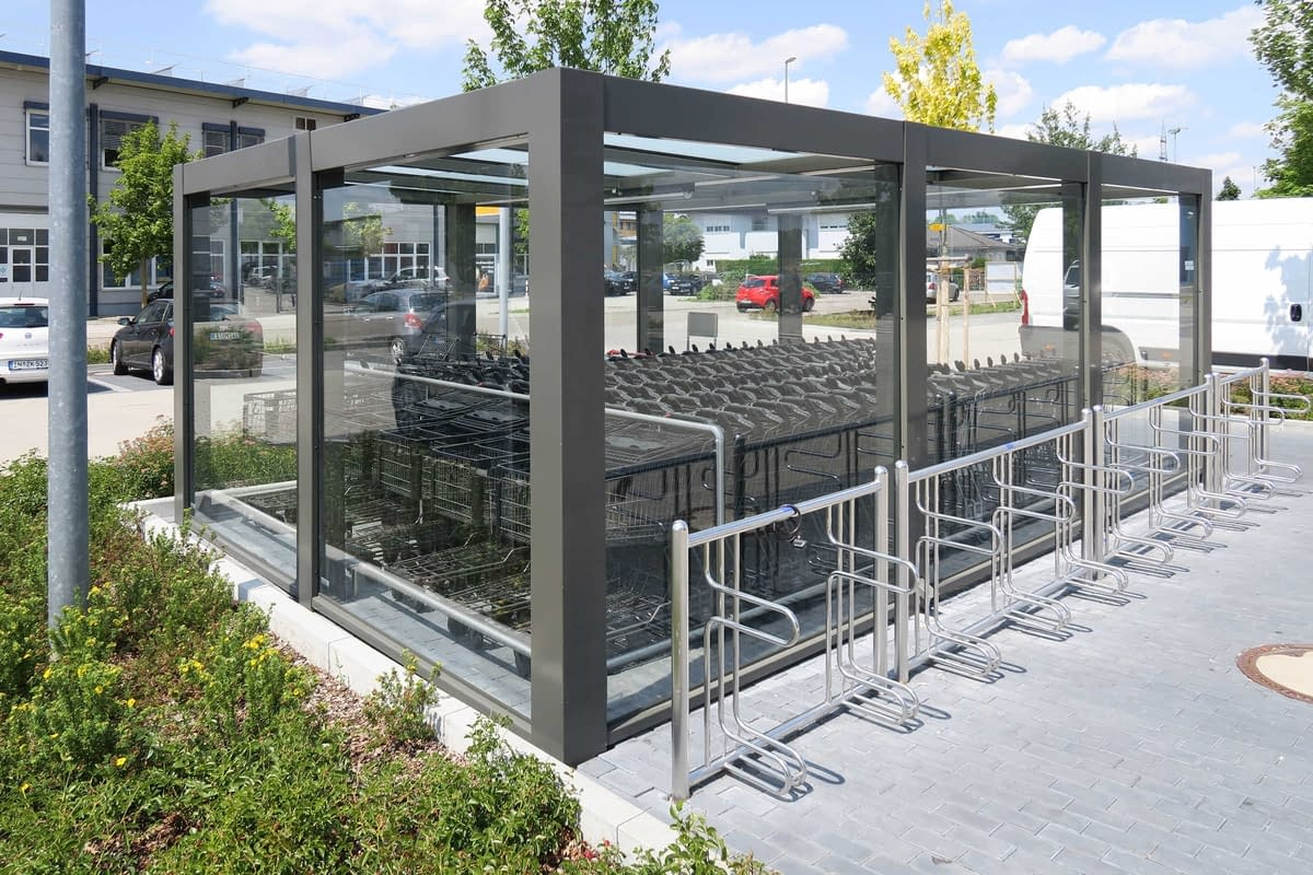 Canopy for shopping trolleys and bicycle stands