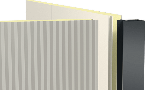 Two sandwich elements are connected with a corner joint